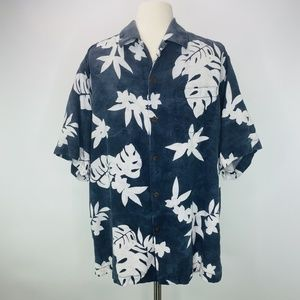 Tommy Bahama Blue Hawaiin Floral Silk Camp Shirt M